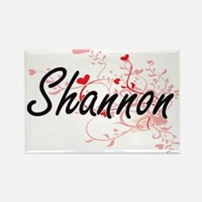 Shannon Artistic Name Design with Hearts Magnets