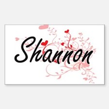 Shannon Artistic Name Design with Hearts Decal