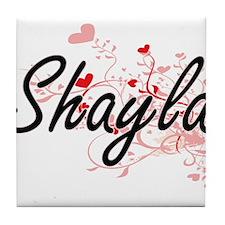 Shayla Artistic Name Design with Hear Tile Coaster