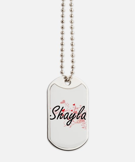 Shayla Artistic Name Design with Hearts Dog Tags