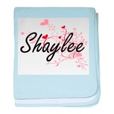 Shaylee Artistic Name Design with Hea baby blanket