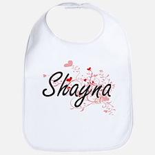 Shayna Artistic Name Design with Hearts Bib
