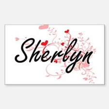 Sherlyn Artistic Name Design with Hearts Decal