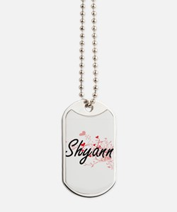 Shyann Artistic Name Design with Hearts Dog Tags