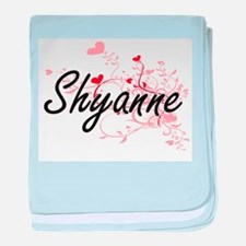 Shyanne Artistic Name Design with Hea baby blanket