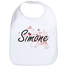 Simone Artistic Name Design with Hearts Bib