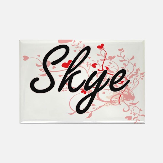 Skye Artistic Name Design with Hearts Magnets