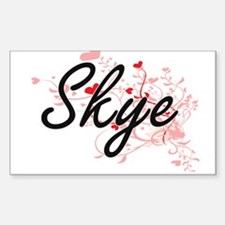 Skye Artistic Name Design with Hearts Decal