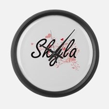 Skyla Artistic Name Design with H Large Wall Clock