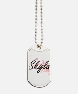 Skyla Artistic Name Design with Hearts Dog Tags