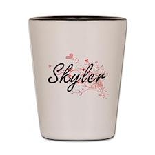Skyler Artistic Name Design with Hearts Shot Glass