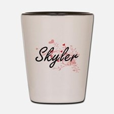 Skyler Artistic Name Design with Hearts Shot Glass