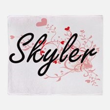 Skyler Artistic Name Design with Hea Throw Blanket
