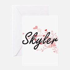 Skyler Artistic Name Design with He Greeting Cards