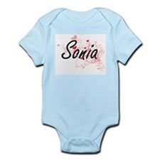 Sonia Artistic Name Design with Hearts Body Suit