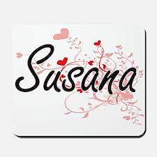 Susana Artistic Name Design with Hearts Mousepad
