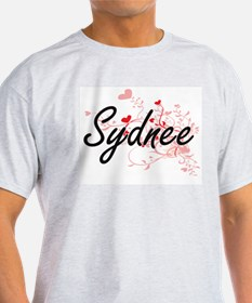 Sydnee Artistic Name Design with Hearts T-Shirt
