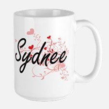 Sydnee Artistic Name Design with Hearts Mugs