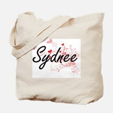 Sydnee Artistic Name Design with Hearts Tote Bag