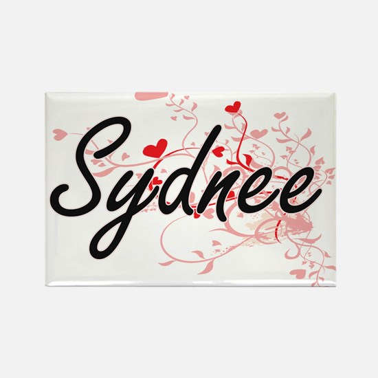 Sydnee Artistic Name Design with Hearts Magnets