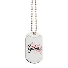 Sydnee Artistic Name Design with Hearts Dog Tags