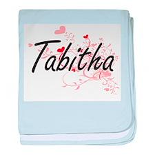 Tabitha Artistic Name Design with Hea baby blanket