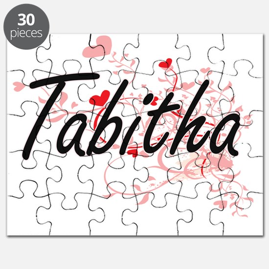 Tabitha Artistic Name Design with Hearts Puzzle