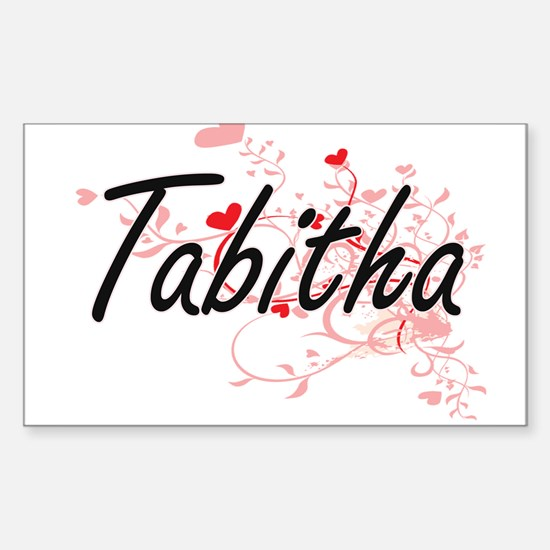 Tabitha Artistic Name Design with Hearts Decal