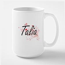 Talia Artistic Name Design with Hearts Mugs