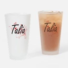 Talia Artistic Name Design with Hea Drinking Glass
