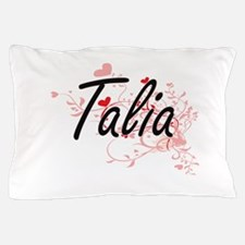 Talia Artistic Name Design with Hearts Pillow Case
