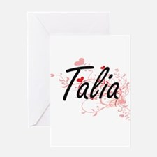 Talia Artistic Name Design with Hea Greeting Cards