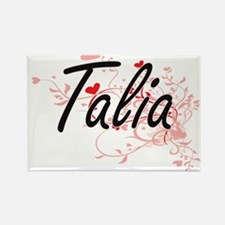 Talia Artistic Name Design with Hearts Magnets