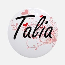 Talia Artistic Name Design with H Ornament (Round)
