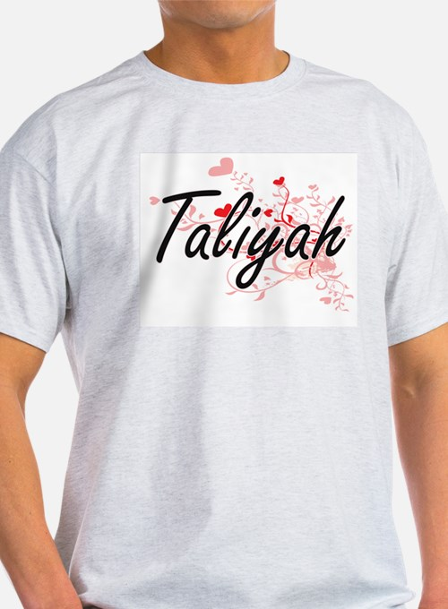 Taliyah Artistic Name Design with Hearts T-Shirt