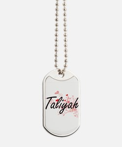 Taliyah Artistic Name Design with Hearts Dog Tags