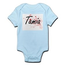 Tamia Artistic Name Design with Hearts Body Suit