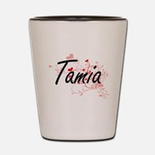 Tamia Artistic Name Design with Hearts Shot Glass