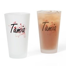 Tamia Artistic Name Design with Hea Drinking Glass