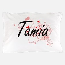 Tamia Artistic Name Design with Hearts Pillow Case