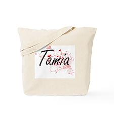 Tamia Artistic Name Design with Hearts Tote Bag