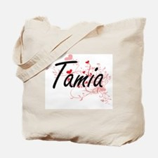 Tamia Artistic Name Design with Hearts Tote Bag