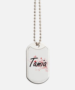 Tamia Artistic Name Design with Hearts Dog Tags