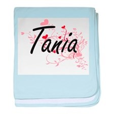 Tania Artistic Name Design with Heart baby blanket