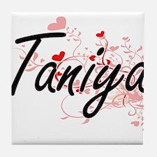 Taniya Artistic Name Design with Hear Tile Coaster