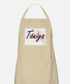 Taniya Artistic Name Design with Hearts Apron