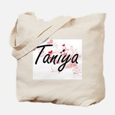 Taniya Artistic Name Design with Hearts Tote Bag