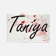 Taniya Artistic Name Design with Hearts Magnets
