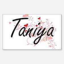 Taniya Artistic Name Design with Hearts Decal
