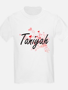 Taniyah Artistic Name Design with Hearts T-Shirt